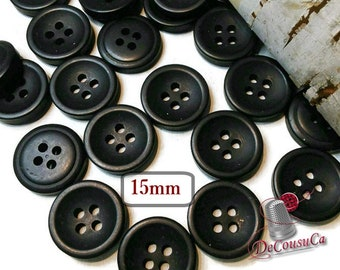 25 Buttons, 15mm, black, 4 holes, BA61, (Valeur de 7.50)