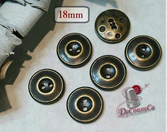 6 buttons, Bronze, 18mm, imitation metal, BM173