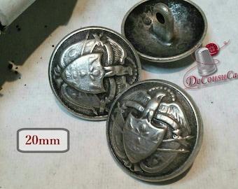 3 Buttons, antique silver, 20mm, metal button, vintage, BM141