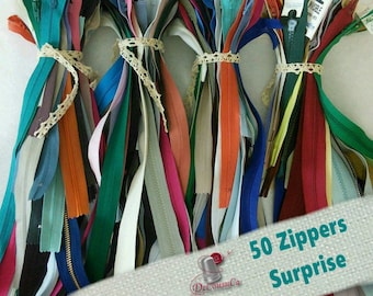 70%, 50 zippers, little and big, varied color, varied size, 10 cm - 60 cm, not detachable, invisible and detachable
