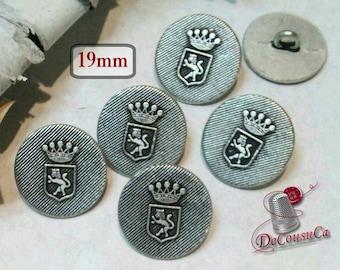 6 buttons, 19mm, crown Coat, métal, vintage, BM09