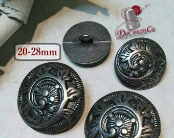6 Buttons antique silver Vintage, 20mm, 28 mm, metal, rod, decorative button, sound button, coat button