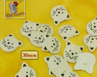 10 buttons, 30mm, Cat, white, Large decorative button, plastic, polymère, BF45