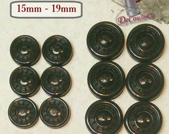6 buttons BLACK, 15mm, 19mm, plastic, 2 holes, BA72