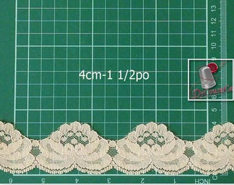 5 yards, Lace, Ivory, 1 1/2 po (4cm), polyester, vintage, (4.60 metres), DT22