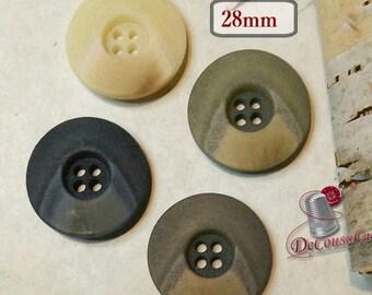 6 Buttons aspect Pierre, 28 mm, 5mm, 4 holes, décoratif button, sound button, coat button, vintage, BM180-181-182-183
