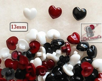 12 or 25 Buttons, 13mm, heart, vintage, white, red, black, BF46,