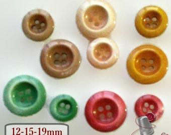 5 Buttons, 4 holes, 12mm, 15mm, 19mm, beige, peach, red, green, corn, resin, BA33