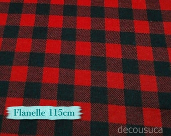 Flannel, Buffalo, plaid, red and black, many yards will be cut as one piece, Flannel 100% high quality cotton