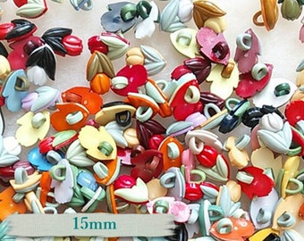 25 Buttons, 15mm, Tulip, plastic, colors mixtes, vintage, BF11,