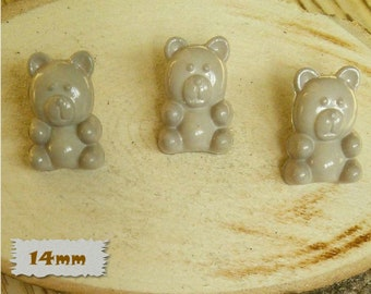 3 Buttons, Bear, BEIGE, 14mm, Polyester, Casein, Vintage, 1980, Fancy Button, Solid Button, BF52