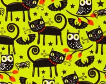 Cat, owl, bat, spider, halloween, Édition Fabric, multiple quantity cut in one piece, 100% Cotton