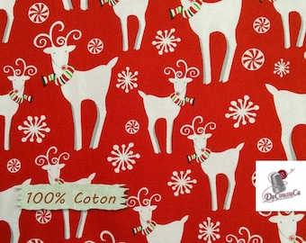 Peppermint Reindeer, red, Studio E, 4155, multiple quantity cut in one piece, 100% Cotton, (Reg 2.99-17.99)