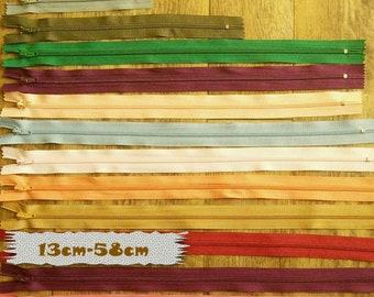 2 Zipper, KKF, S, Q, 13cm to 58cm, Slider # 3, Choice of Color, Nylon, Pouch, Garment, Z12-1