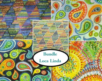 5 prints, Blank Quilting, Loca Linda, 100% cotton,