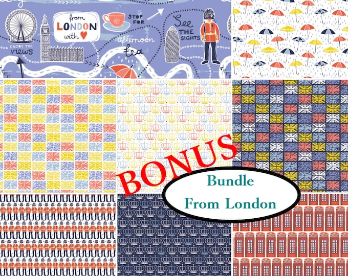Featured listing image: Bundle, 8 prints, From London with Love, Vicky Yorke, Camelot Fabrics, 100% Cotton, quilt cotton