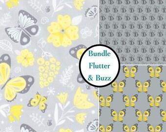 3 prints, 1 of each, Bee, Butterfly, Flutter & Buzz, Camelot Fabrics, 100% cotton, (Reg 11.97 - 53.97)