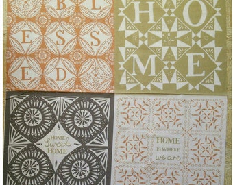 """Panneau, 4 designs, 36"""" X 44"""", (90cm x 110cm), Home on the Prairie, 30180309P, Camelot Fabrics, 100% Cotton"""