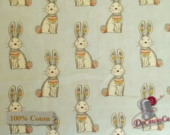 Rabbit, blue, 3 Wishes, Woodland Tribe, multiple quantity cut in 1 piece, 100% Cotton