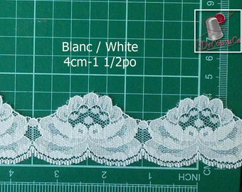 "Scalloped Lace, White, 1 1/2 ""(4cm), polyester, vintage, by the yard, DT24,"