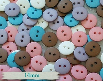 15 Buttons, 14mm, plastic, blue, white, mauve, brown, pink, GR09