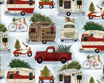 Christmas Campers, Beth Albert, Christmas, camping, Édition Fabric, multiple quantity cut in one piece, 100% Cotton