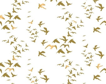 Birds, gold métallic, white, Up Up and Away, 29170104, col 03, Camelot Fabrics, cotton, cotton quilt, cotton designer