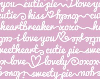 White writing, pink background, XOXO, 21190704, col 03, Camelot Fabrics, cotton, cotton quilt, cotton designer