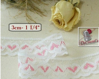 5 yards, Lace vintage, 3cm, 30mm, 1 1/4 inch, white, heart, pink, (4.60 metres), DT19