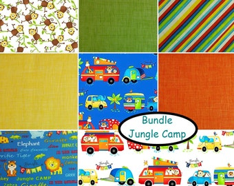 Bundle, 8 FQ, 8 X 1/4 verge, 8 X 1/2 verge, 1 of each, Jungle Camp, Studio E, 100% cotton