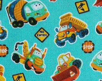 Truck, turquoise, 1156, Henry Glass & Co, multiple quantity cut in 1 piece, 100% Cotton