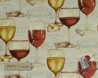 Glass of wine, Wine Night, Mary Beth Baker, Henry Glass & Co, 1135, multiple quantity cut in 1 piece, 100% Cotton, (Reg 2.99 - 17.99)