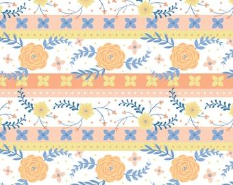Strip, Flowers, orange, blue, Do what you love, 2241502, col 01, Camelot Fabrics, cotton, cotton quilt, cotton designer