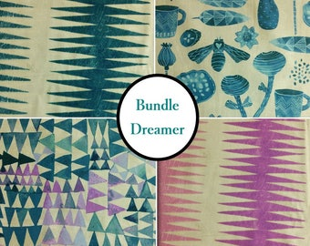 Kit 4 prints, Dreamer, 100% coton, Windham Fabrics,  by Carrie Bloomston