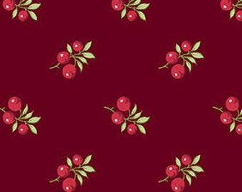 Fabric, Cotton, Cranberry, red, Winter Rose, 9420, Andover