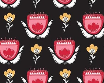 Tulips, black, 21181004, col 02, Field of Poppies, Camelot Fabrics, 100% Cotton