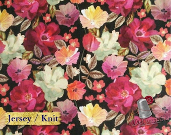 Poly / spandex jersey, knit, 95 polyester, 5 spandex, stretch fabric, garment fabric, 58/60 wide, flower, black