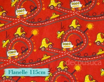 Flannel, Style #21535, Eugenes Textiles, Truck, red, multiple quantity cup on 1 pièce, 100% Cotton