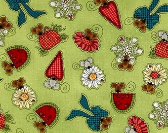 Mouse green apple, Doodle Days Calender, Henry Glass, #8661, multiple quantity cut in one piece, 100% Cotton,  (Reg 3.99 - 17.99)