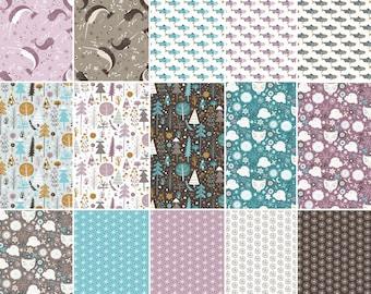 Bundle 11 or 15 FE, 15 FQ, or 15 X 1/4 yard, or 15 X 1/2 yard, 1 of each, Snowfall, Camelot Fabrics, 100% cotton, (Reg 21.95 - 119.70)