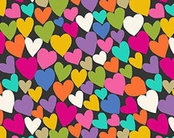 Heart, black, rainbow, Katie's Cat, 2350 S, Makower, cotton, cotton quilt, cotton designer