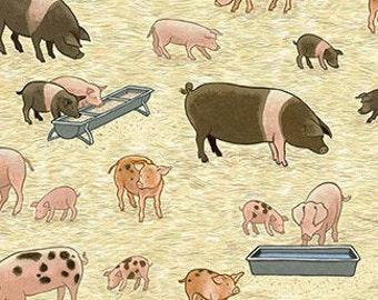 Pig, piglet, 2292, Village Life, cotton, cotton quilt, cotton designer