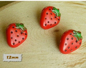 3 Buttons, 12mm, Strawberry, Red, Rod, Polyester, Vintage, 1980, Fancy Button, Solid Button, GR04