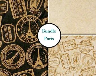END OF BOLT, 3 prints, Destination Paris, Windham Fabrics, 1 of each print, 100% Cotton