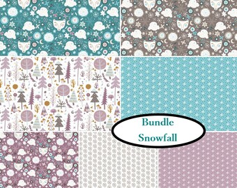 5 or 7 FQ, 7 prints, Snow Fall, Camelot Fabric, 1 of each print,