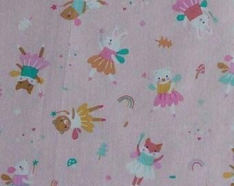 Rabbit, fox, bear cub, pink background, Meet me at barre, 1387, Riley Blake, cotton, cotton quilt, cotton designer