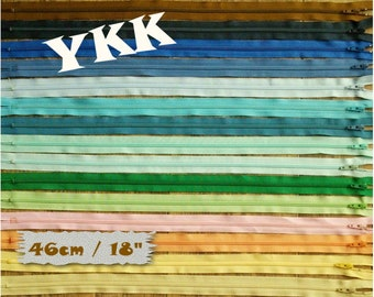 2, YKK, 46 cm, 2 zipper , #3, (18 inchs), vintage, varied color, nylon, perfect for wallets, clothing, repair, creation, Z46