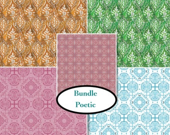 Bundle, 5 prints, Poetic, Designer: Tracy Porter, Camelot Fabrics, 100% cotton