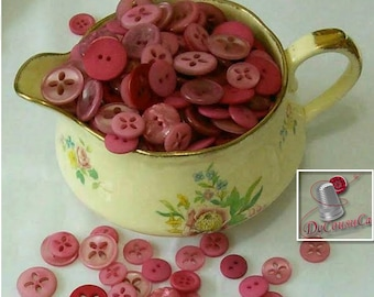 12 kits of 6 buttons, 1970-2000, Pink, fuschia, red, wine, 2 holes, 4 holes, 6 buttons by model, 72 buttons, BA24