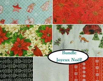 "7 FQ, 1/4 yard, 1/2 yard, FE = 9""X22"", 1 of each, Joyeux Noël!, 100% cotton"